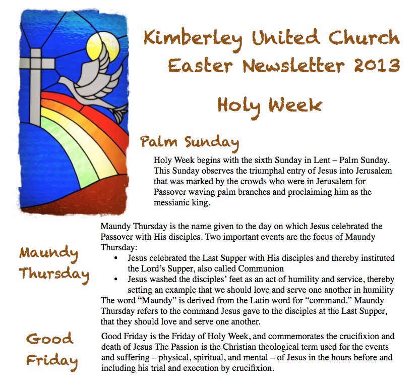 Easter Newsletter cover